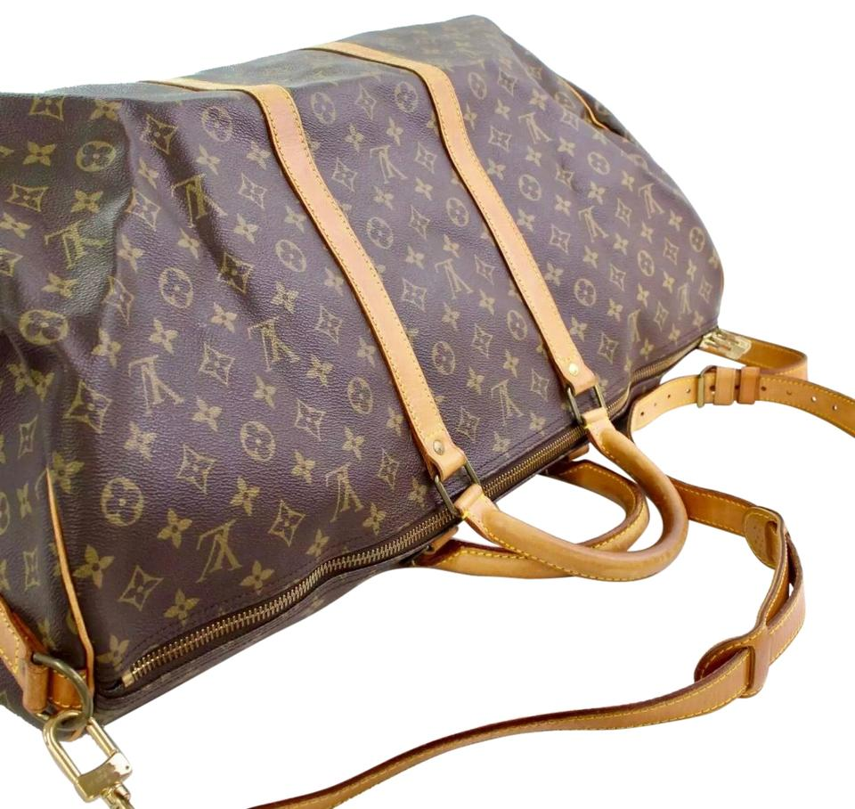 70ecaf5bd62 Louis Vuitton Keepall 60 Bandouliere Monogram Gm with Lv Strap Padlock and  Key. Brown Canvas Weekend/Travel Bag 48% off retail