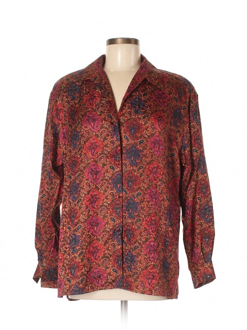 Item - Red Long Sleeve Silk Printed Blouse Size 8 (M)