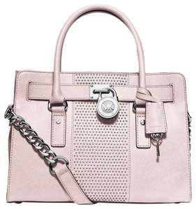Michael Kors Pale Baby Shoulder Saffiano Leather Satchel in Blossom Light Pink