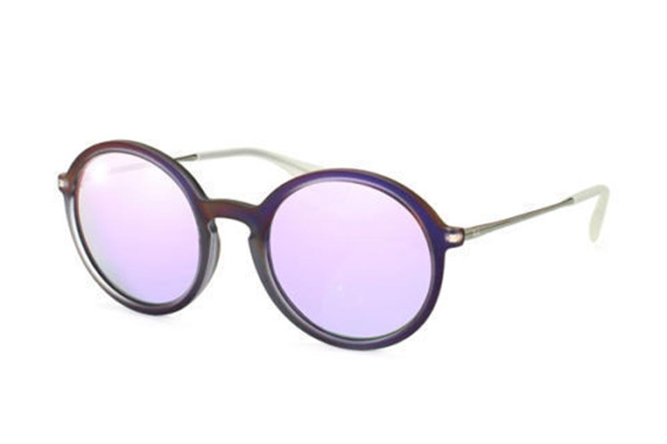 e101205555 Ray-Ban Shot Violet Rubber Grey Metal   Plastic Frame with Violet Mirrored  Lens. Rb4222 61684v Round Style Unisex Sunglasses