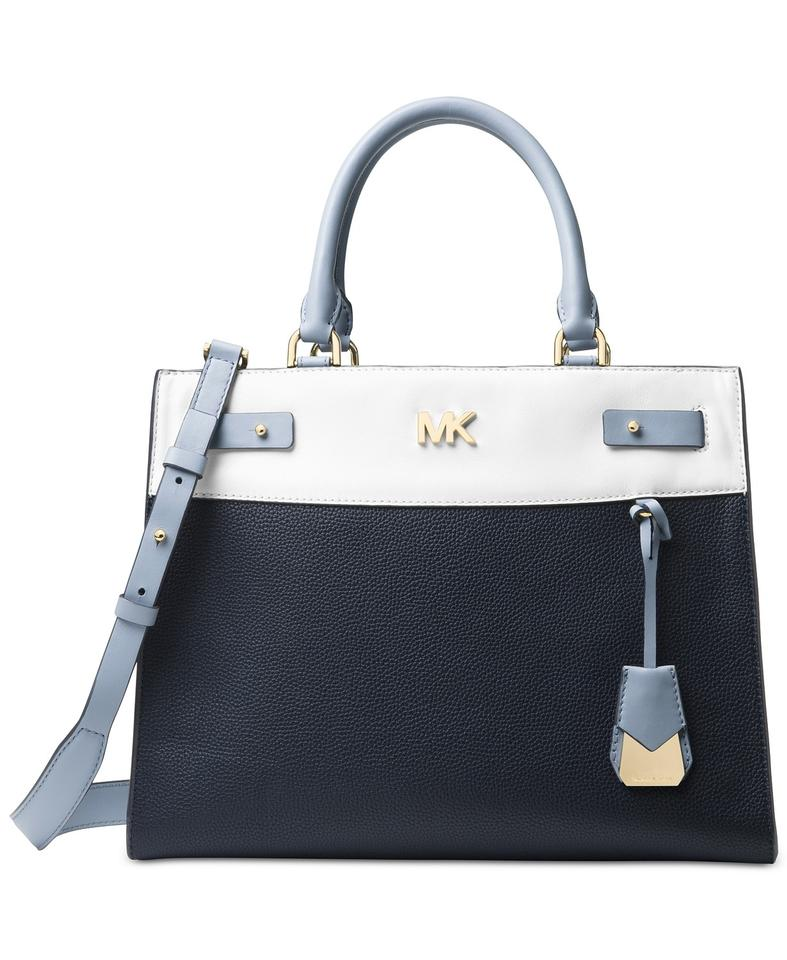 9bfd44458835 Michael Kors Reagan Color Block Blue Leather Satchel - Tradesy