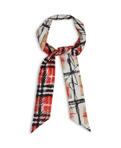Burberry NEW WITH TAG Scribble Check Silk Skinny Scarf