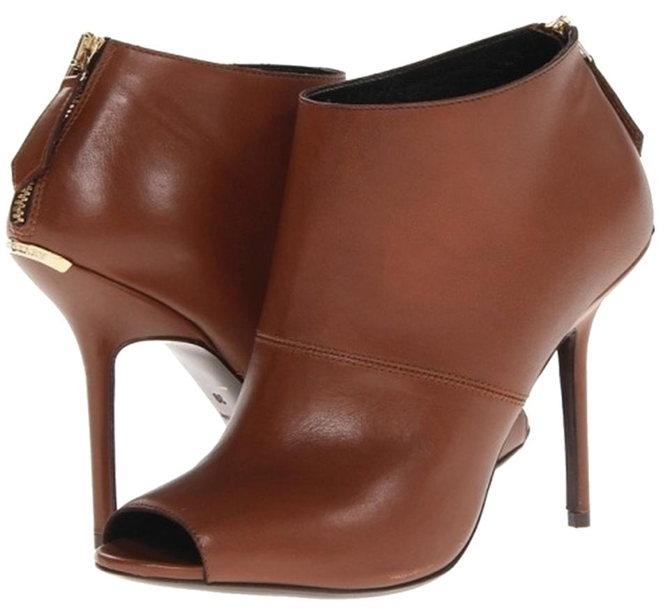Burberry Brown London Essentials Callum 100 Peep Toe 38/ Ankle In Chestnut Leather 38/ Toe Boots/Booties 1891f5