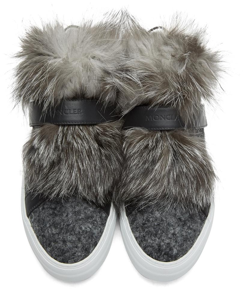 Moncler Fox Fur Sneakers Leather amp; Gray Sneakers Women's rBqwx4r1tE