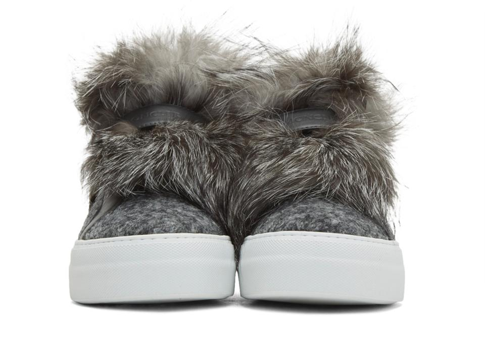 amp; Sneakers Sneakers Moncler Fur Gray Women's Leather Fox qCzcIx1PFw