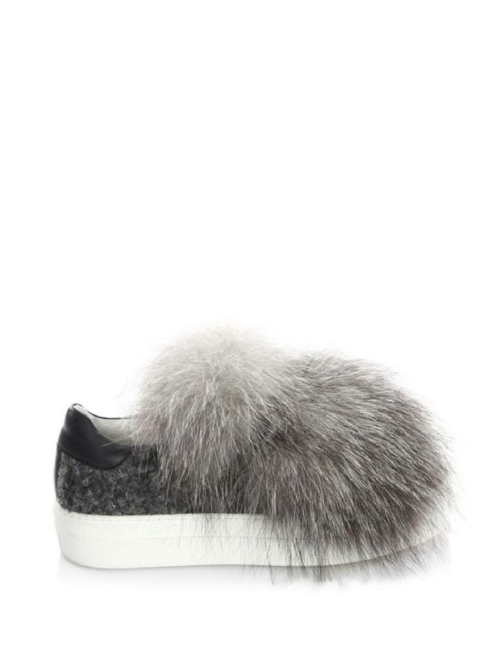 Women's Fox Gray Leather amp; Moncler Sneakers Fur Sneakers vS5pwpq