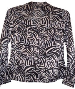 East 5th Essentials Long Sleeve Button Front Button Down Shirt Black/White