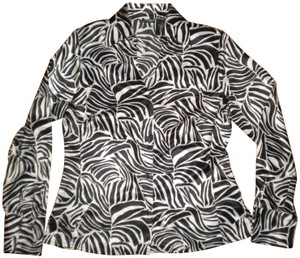 East 5th Essentials Long Sleeve Button Front Blouse Black/White Button Down Shirt Black/White