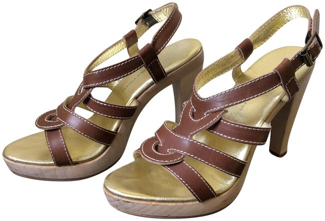 Twelfth St. by Cynthia Vincent Brown Brad Tumbled Leather Wooden Heel Sandals Size US 7.5 Regular (M, B) Twelfth St. by Cynthia Vincent Brown Brad Tumbled Leather Wooden Heel Sandals Size US 7.5 Regular (M, B) Image 1