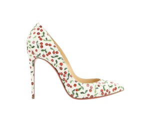 Christian Louboutin Pointed Toe Leather White Pumps