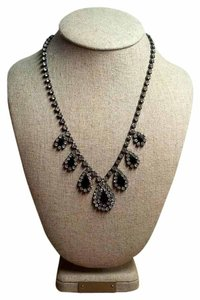 Vintage Crystal Art Deco Style Rhinestone & Black Teardrop Wedding Necklace