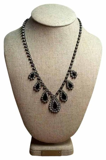 Other Vintage Crystal Art Deco Style Rhinestone & Black Teardrop Wedding Necklace