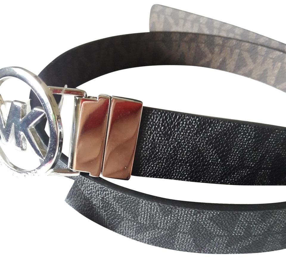 0acd6992b Michael Kors Michael Kors reversible MK logo with Silver Buckle black brown  belt, large Image ...
