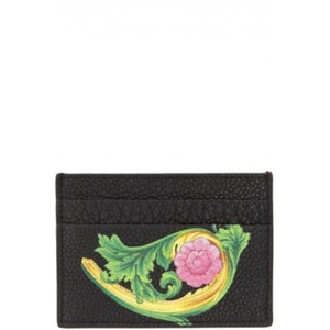 Versace BRAND NEW MENS VERSACE FLORAL PRINT BLACK LEATHER CARD CASE WALLET