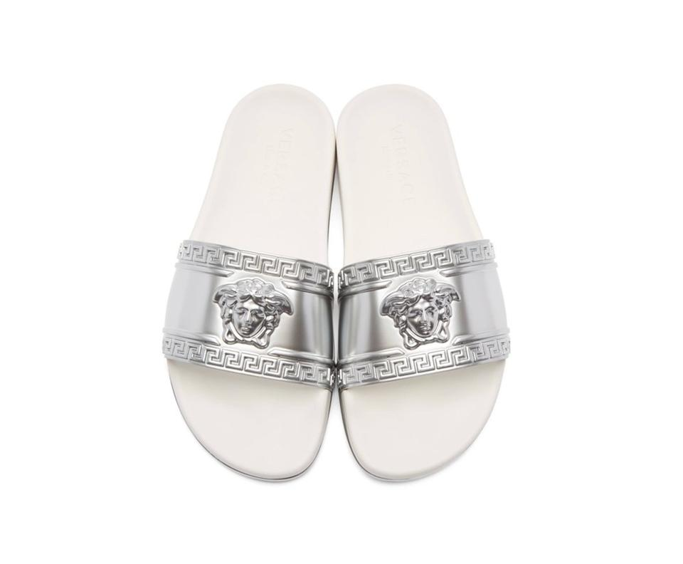 bf3106abc Versace Silver Mens Medusa Pool Slide Metallic White Sandals Size US ...