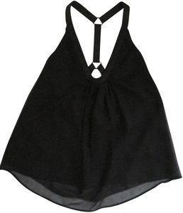 Development by Erica Davies Sleeveless Silk Ribbon Open Flowy Top black