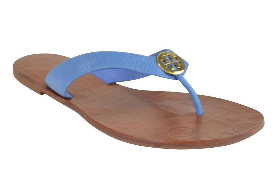 8ef24305cdc2b Tory Burch Brown New Womens Thora Thong Flat Tumbled Leather Chambray  Sandals. Size  US 8 ...