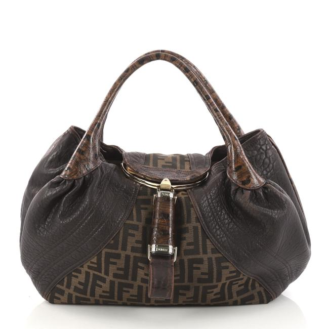 Item - Tortoise Spy Zucca Canvas And Brown Leather Hobo Bag