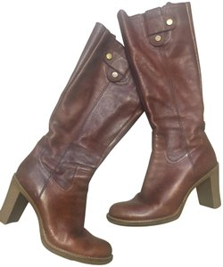 Gianni Bini Leather Rubber Soles Classy Timeless Cognac Boots