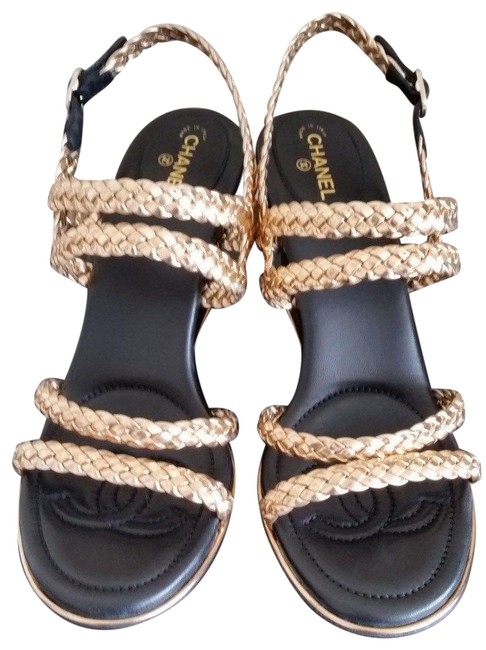Chanel Gold 17p Black Braided Leather Cc Logo Wedge Sandals Size EU 40 (Approx. US 10) Regular (M, B) Chanel Gold 17p Black Braided Leather Cc Logo Wedge Sandals Size EU 40 (Approx. US 10) Regular (M, B) Image 1