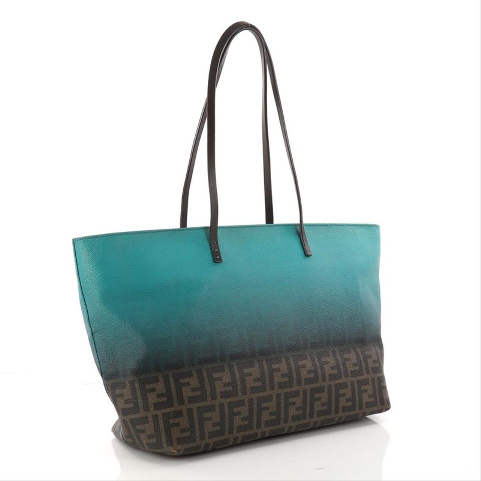 989a97d61145 Fendi Tote Ombre Zucca Coated Large Brown and Turquoise Canvas ...