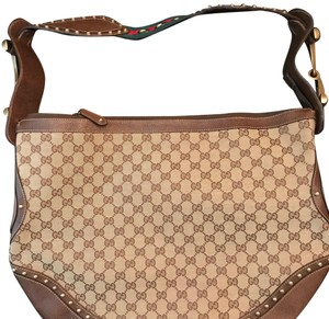 4d46f17d85e Gucci 510340 Supreme with Changing Pad Brown Pink Leather Trim Gg ...