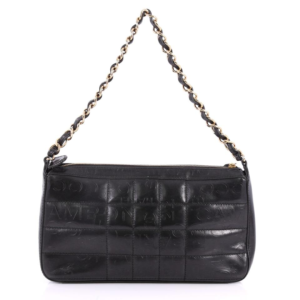 dd553280caa2 Chanel Square Quilt Embossed Medium Black Lambskin Leather Shoulder ...