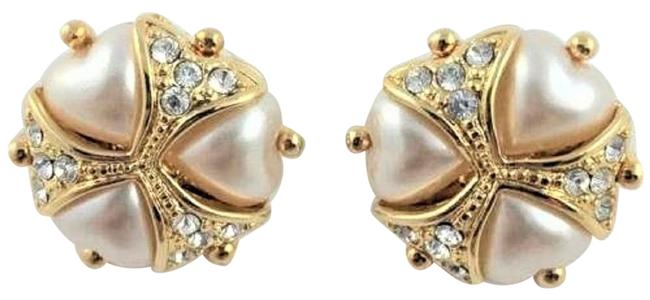 Joan Rivers White Heart with Crystals - Pierced Earrings Joan Rivers White Heart with Crystals - Pierced Earrings Image 1