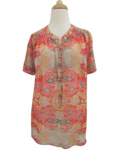 Ella Moss Floral Print Silk Chiffon Short Sleeve Top orange