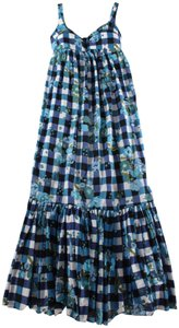 Black, Blue, White Maxi Dress by Tracy Feith Floral Ruffle