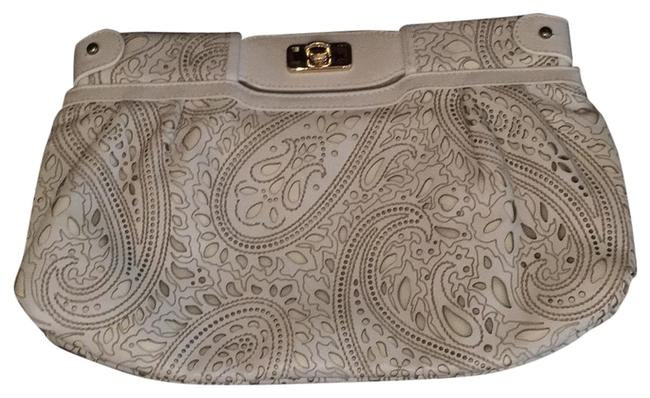 Item - Paisley Lined Cutout Off White Leather Clutch