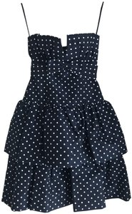 Carolyne Roehm Polka Dot Strapless Tiered Dress
