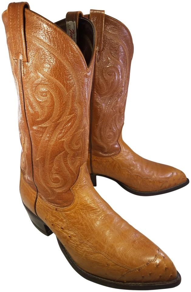 8ae9d82fc68 Tony Lama Tan Western Cowboy Man Exotic Ostrich Boots/Booties Size US 9.5  Regular (M, B)