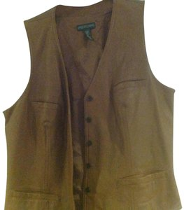Lauren Jeans Company Ralph Lambs Leather Fully Lined Five Buttons Three Pockets Vest