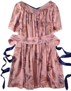 Tracy Feith short dress Blush Ruched Floral Linen on Tradesy