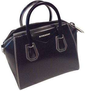 Givenchy Contrast Stitching Calfskin Satchel in Black
