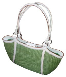 Elliott Lucca Shopping Trimleather Shellratan Handbag . Weekend Beach Cluthes Tote in Green