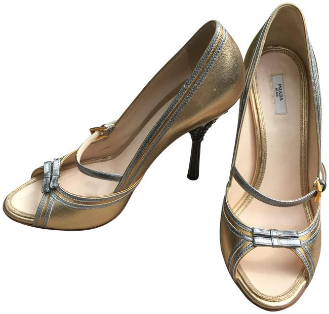 Item - Gold Metallic with Silver Metallic Trim Open Toe Mary Jane Crystal Heels Formal Shoes Size US 8.5 Regular (M, B)