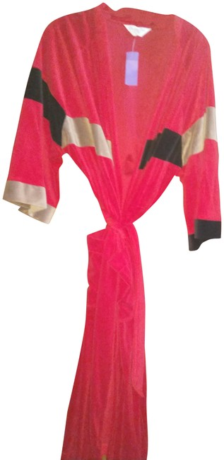 Item - Red Black Beige Tan Christian Colorblock Velvety Belted Robe Mid-length Night Out Dress Size OS (one size)