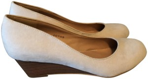 Journee Collection Suede Wooden Telora Cream Wedges