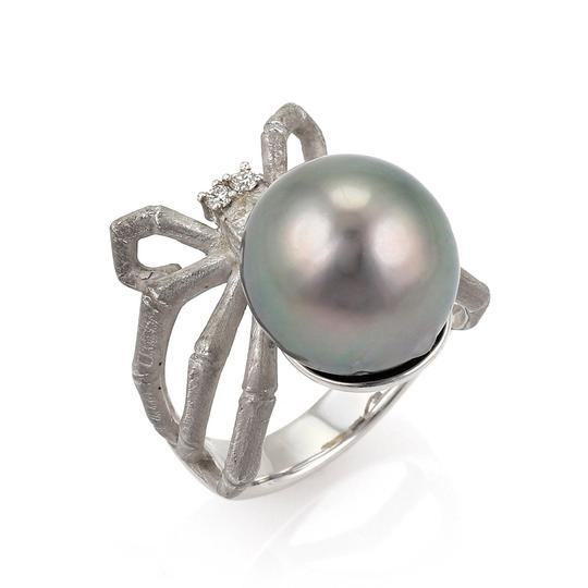 Other Grey Pearl Diamond 18k Gold Spider Ring Image 0