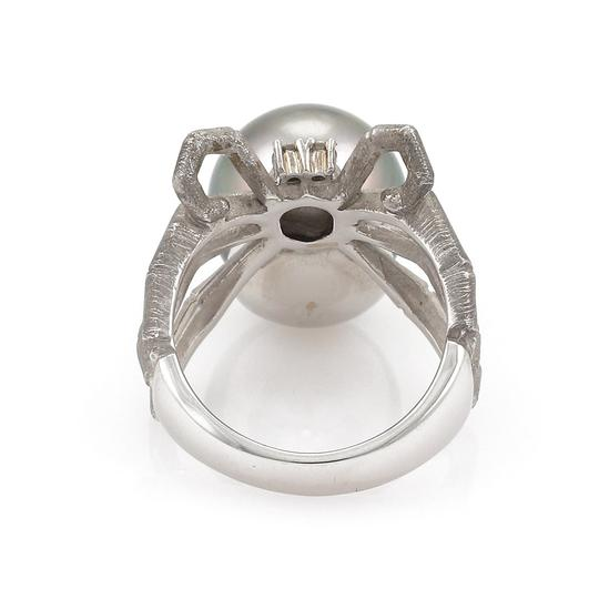 Other Grey Pearl Diamond 18k Gold Spider Ring Image 3