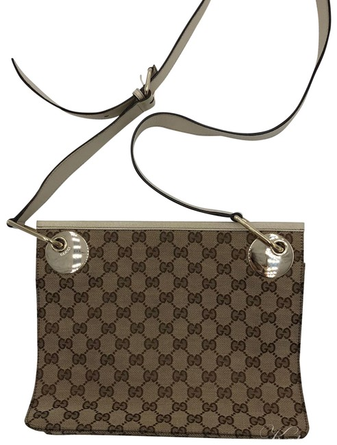 Gucci Gg Canvas Beige and Brown Leather Cross Body Bag Gucci Gg Canvas Beige and Brown Leather Cross Body Bag Image 1