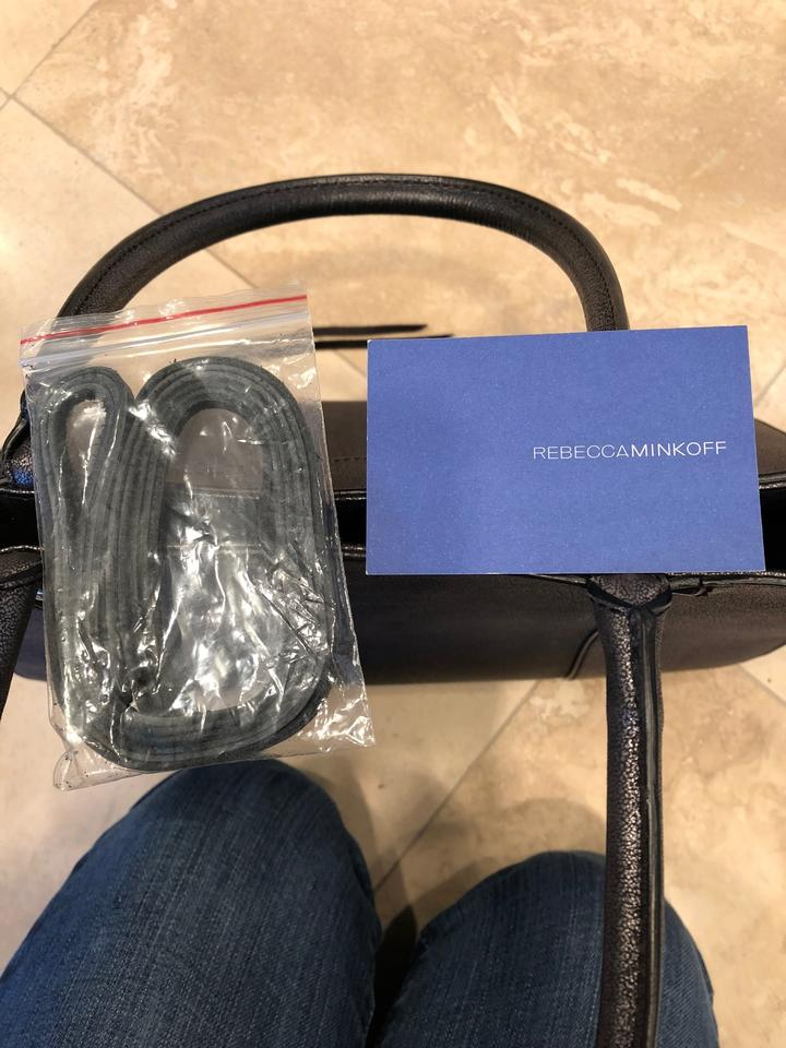 5708999fc Rebecca Minkoff New Charcoal/Black Metallic Leather Shoulder Bag ...