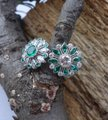 Handmade Emeralds And Diamonds Spinning Double Flower Ring in Platinum Image 3