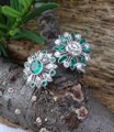 Handmade Emeralds And Diamonds Spinning Double Flower Ring in Platinum Image 4