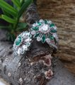 Handmade Emeralds And Diamonds Spinning Double Flower Ring in Platinum Image 5