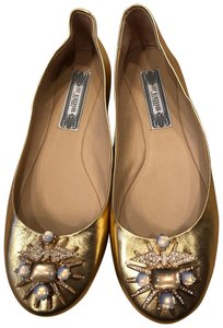 Ivy Kirzhner gold tone with gems Flats