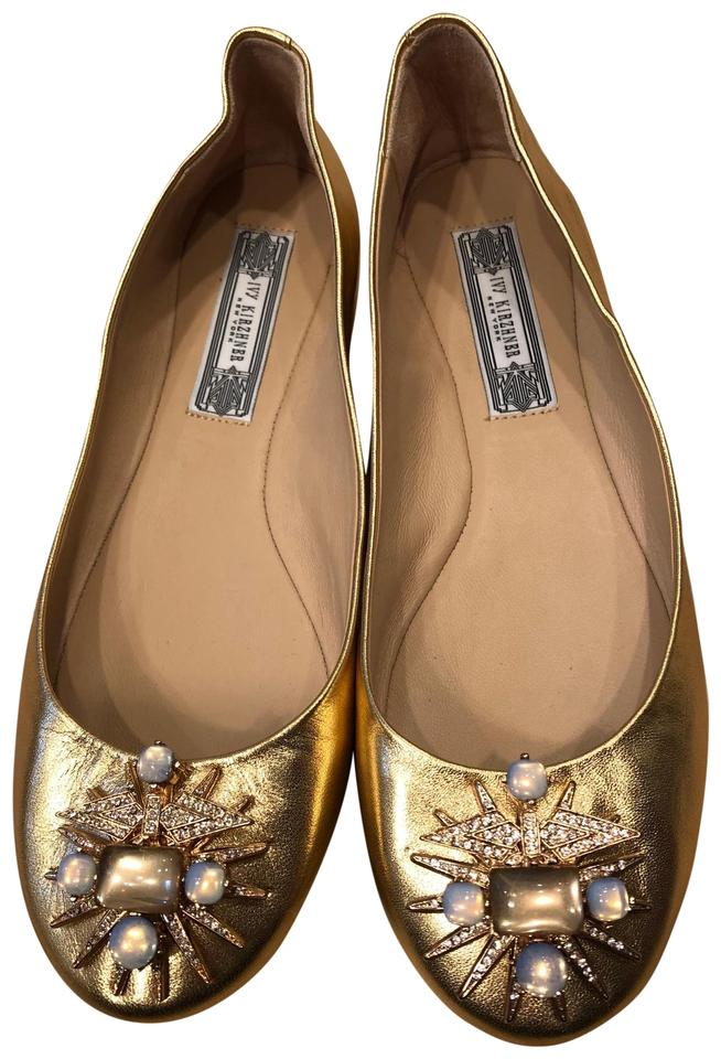9cc3200cf387 Ivy Kirzhner Gold Tone with Gems Flats Size US 8 Regular (M