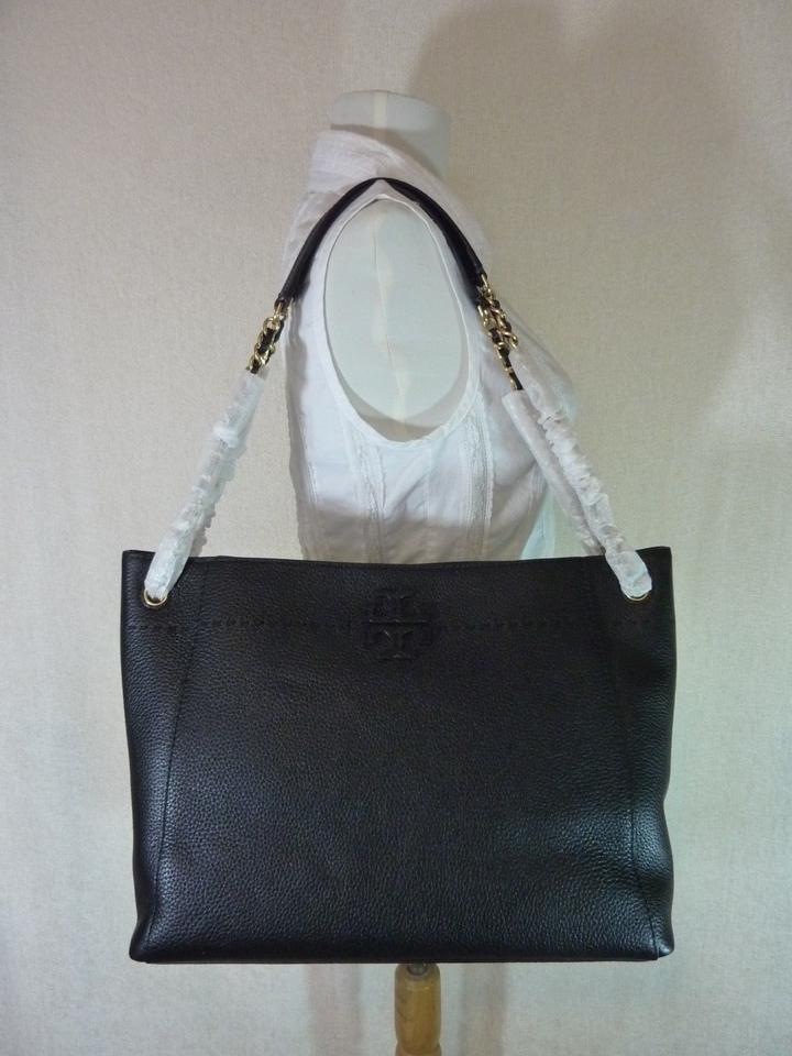 Tote Chain Black Leather Tory Slouchy Mcgraw Burch p8aqYa